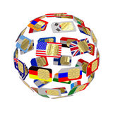 SIM cards in the form of flags forming the globe. And  on white background Royalty Free Stock Image