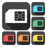 SIM cards icons set with long shadow. Vector icon vector illustration