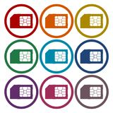 SIM cards icons set. Vector icon royalty free illustration