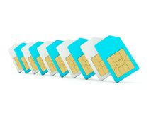 Sim cards isolated on white. Blue and grey series Stock Image