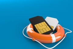 SIM cards with life buoy. On blue background Stock Photography