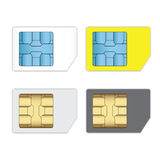 SIM cards for mobile phones isolated on white. SIM cards for mobile phones isolated on white, Mobile and wireless communication technologies,Network chip royalty free illustration