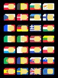 SIM cards represented as flags of Euro countries Royalty Free Stock Photos