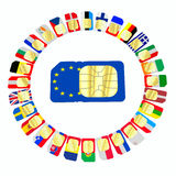 SIM cards represented as flags of European Union countries Royalty Free Stock Image