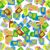 SIM Cards Seamless Pattern. On White Background Royalty Free Stock Images