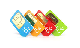 SIM cards. Set of color SIM cards with 2g, 3g, 4g, 5g technology icon  on white background. 3d rendering illustration Stock Images