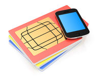 SIM cards and smartphone. On white background. 3d rendering illustration stock illustration