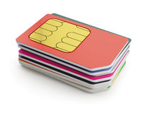 Sim cards stack. 3d illustration of sim cards stack isjlated on white background Royalty Free Stock Images