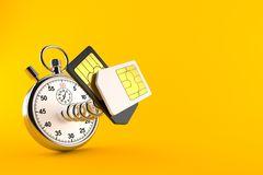SIM cards with stopwatch. Isolated on orange background. 3d illustration vector illustration