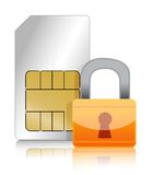 Sim cart with padlock illustration design Royalty Free Stock Photography