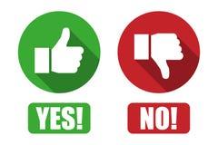 Sim e nenhum botão com polegares acima e dos polegares ícones para baixo ilustração do vetor