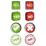 Sim e nenhuns ícones ajuste Fotos de Stock