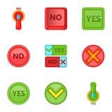 Sim e nenhuns ícones do botão ajuste, estilo dos desenhos animados Fotografia de Stock
