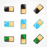 sim för kortset Illustration av formgivaren på vit bakgrund Arkivfoto