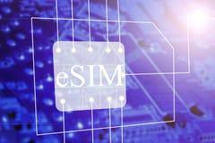 SIM karta i eSIM Osadzający SIM gręplujemy ikona symbolu pojęcie SIM karty ewolucji pojęcie ilustracji