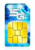 SIM-Karte 5G lokalisiert auf weißem Hintergrund Abbildung 3D Lizenzfreie Stockbilder