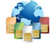 SIM-Karte und Kugelillustrationsdesign Lizenzfreie Stockfotografie