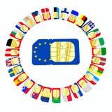 SIM-Karten dargestellt als Flaggen von Ländern der Europäischen Gemeinschaft Lizenzfreies Stockbild