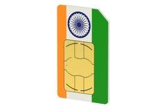 SIM-kort med flaggan av Indien Fotografering för Bildbyråer