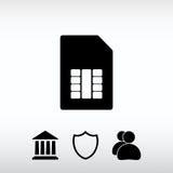 Sim kortsymbol, vektorillustration Sänka designstil Fotografering för Bildbyråer
