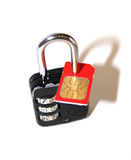 SIM-lock. Combination lock with a red sim-card Stock Images