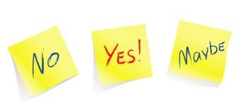 Sim/não/talvez/páginas amarelas da nota/vetor Fotografia de Stock Royalty Free