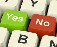 Sim nenhumas chaves que representam a incerteza e as decisões em linha Fotografia de Stock
