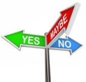 Sim No. talvez - 3 sinais coloridos da seta Imagens de Stock Royalty Free