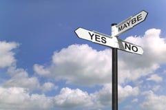 Sim o No. sinaliza talvez Imagens de Stock Royalty Free