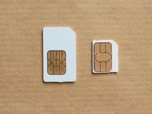 SIM- och USIM-kort som används i telefoner Arkivfoton