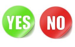 Sim ou etiquetas do No. Imagem de Stock Royalty Free