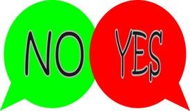 Sim ou nenhumas bolhas ilustração stock