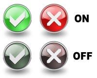 Sim ou nenhuns botões Fotografia de Stock Royalty Free