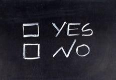 Sim ou No. Fotografia de Stock Royalty Free