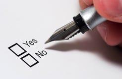 Sim ou No. Fotos de Stock