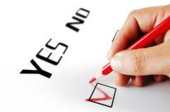 Sim ou seleção do No. Fotografia de Stock