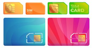 Sim phone card icons set, cartoon style vector illustration
