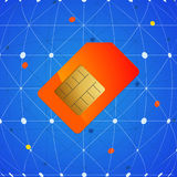 Sim telephone card over network background Royalty Free Stock Image
