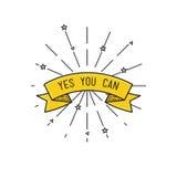 SIM você pode Ilustração inspirada do vetor, cartaz liso das citações inspiradores Imagem de Stock Royalty Free