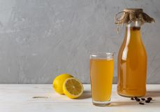 SIMA - a drink obtained by fermentation of lemon and yeast at home. Copy-space. SIMA - a drink obtained by fermentation of lemon and yeast at home. Drink of the royalty free stock photos