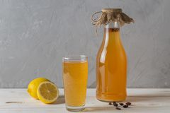 SIMA - a drink obtained by fermentation of lemon and yeast at home. Drink of the Finnish spring royalty free stock photography