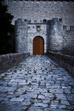 Simancas castle gateway. General Archive of Simancas in a stormy day, province of Valladolid, Spain Royalty Free Stock Photo