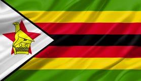 Simbabwe fahnenschwenkend mit dem Wind, Illustration 3D Lizenzfreies Stockbild