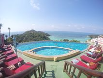 simbassäng hotell i Koh Tao Fotografering för Bildbyråer