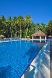 Simbassäng i ett tropiskt hotell arkivbild
