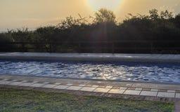 Simbassäng i soluppgång arkivfoton