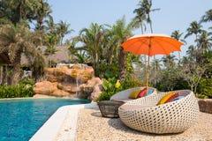 Simbassäng och strandstolar i en tropisk trädgård, Thailand Royaltyfri Fotografi