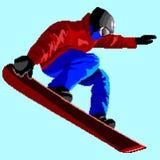 Simbol вектора сноубординга стилизованное Катание молодого человека на сноуборде на голубой предпосылке Иллюстрация искусства пик иллюстрация штока