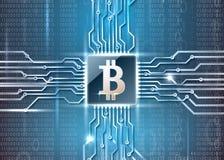 Simbol de Bitcoin no microchip Fotos de Stock