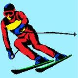 Simbol estilizado de esquí del vector Montar a caballo del hombre joven en los esquís en fondo azul stock de ilustración